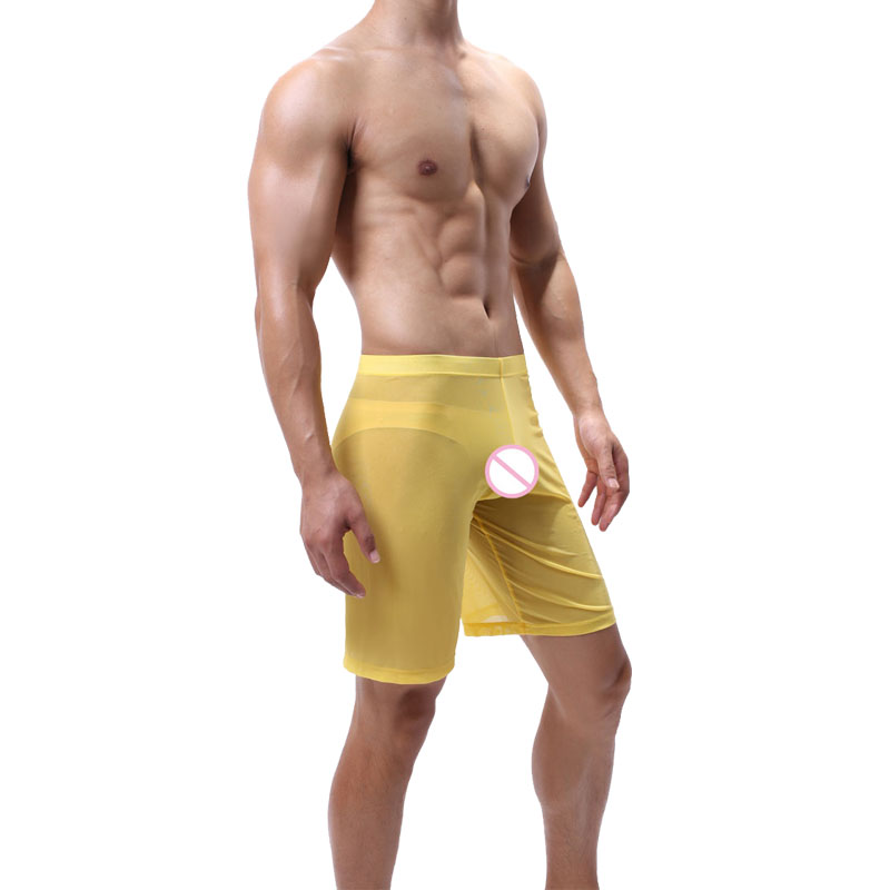 Underwear Men's Shorts Sexy Transparent Mesh Sleepwear Men Pajamas Man Ultra-thin Breathable Pijama Hombre