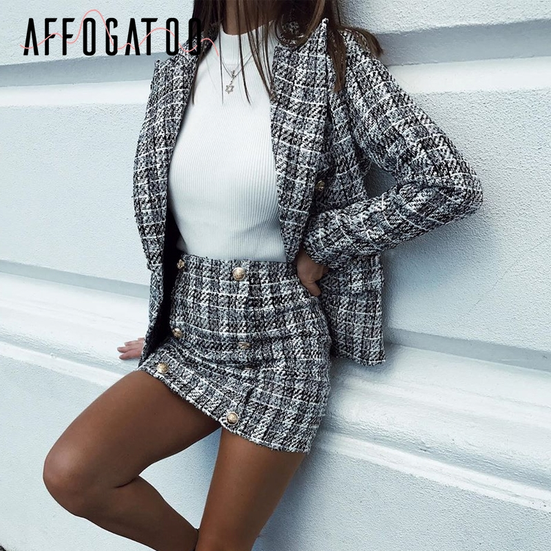 Affogatoo Casual Plaid Tweed Two-piece Blazer Skirt Suits Women Sets Elegant Suits Female Chic Office Ladies Blazer Skirt Suits