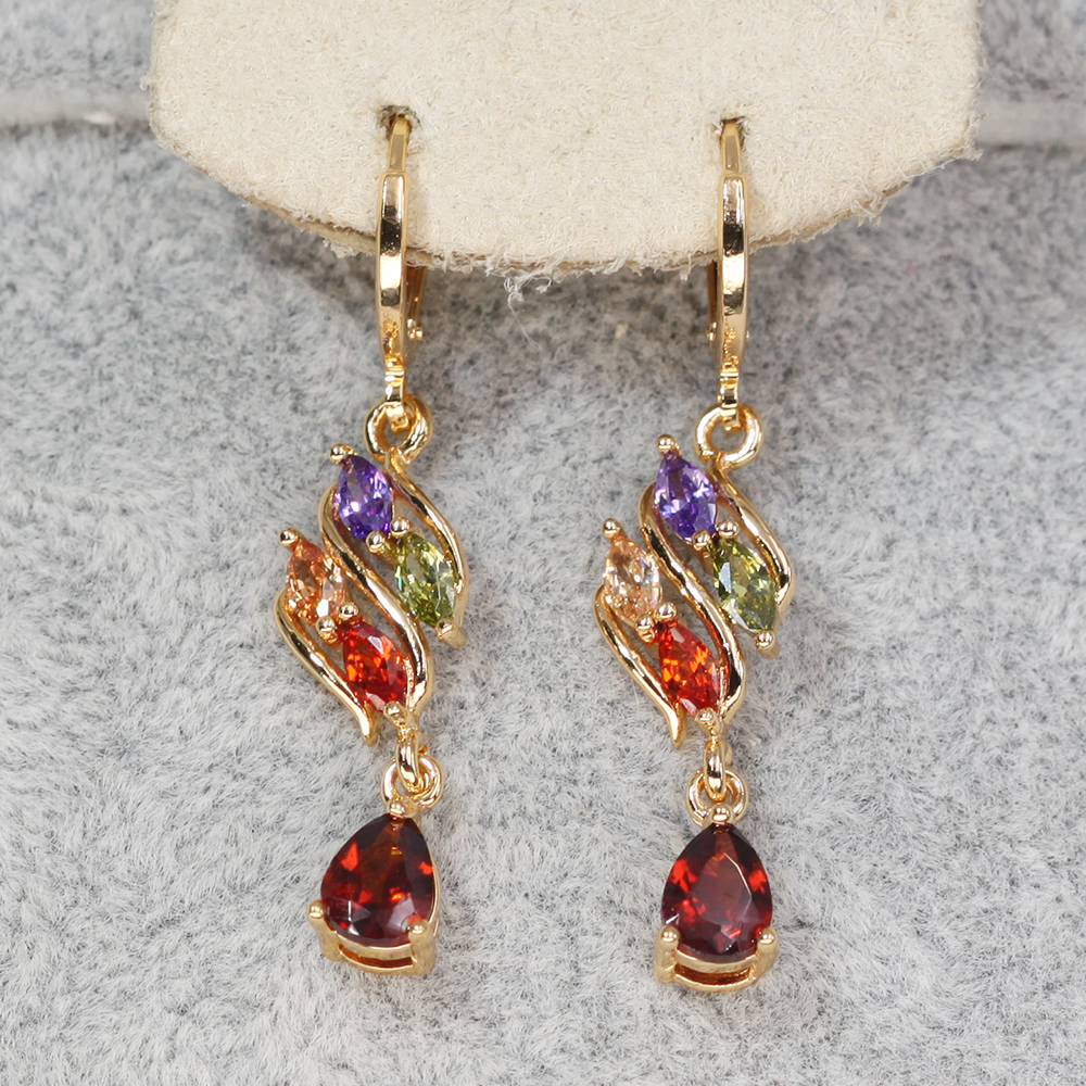 H58b5bb9881754e168c7bd7e5d6fb4c92p - Trendy Vintage Drop Earrings For Women Gold Filled  Red Green Pink Lavender Zircon Earrings Gold  Earring Wedding  Jewelry