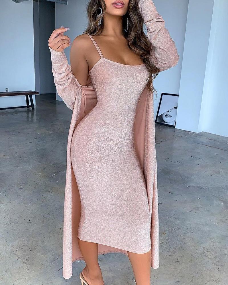 2020 Women Elegant Two Pieces Suit Sets Female Sexy Dress & Coat Sets Glitter Spaghetti Strap Midi Dress With Cardigan Coat