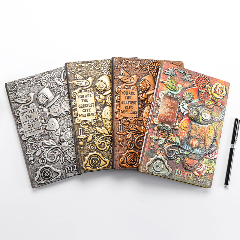 Retro Colored Relief Notebook A5 Leather Hard Cover Diary 100Pages Ruled OWL Fashion Notepad Planner Gift Collection