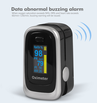 Pulse oximeter, finger pulse oximeter SPO2 PR-PI-RR OLED Blood oxygen and respiratory monitor