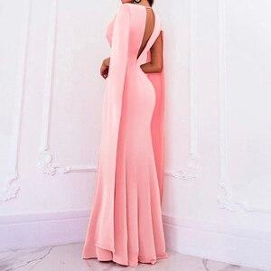Image 4 - Элегантное осеннее облегающее длинное платье Adogirl без рукавов с глубоким V образным вырезом, женские сексуальные вечерние Клубные платья с открытой спиной, наряд, платья