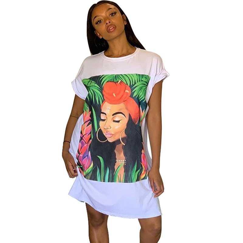Платье-рубашка большого размера, женское платье с коротким рукавом, туника с принтом персонажа, мини уличная одежда, Осеннее женское свободное короткое Повседневное платье