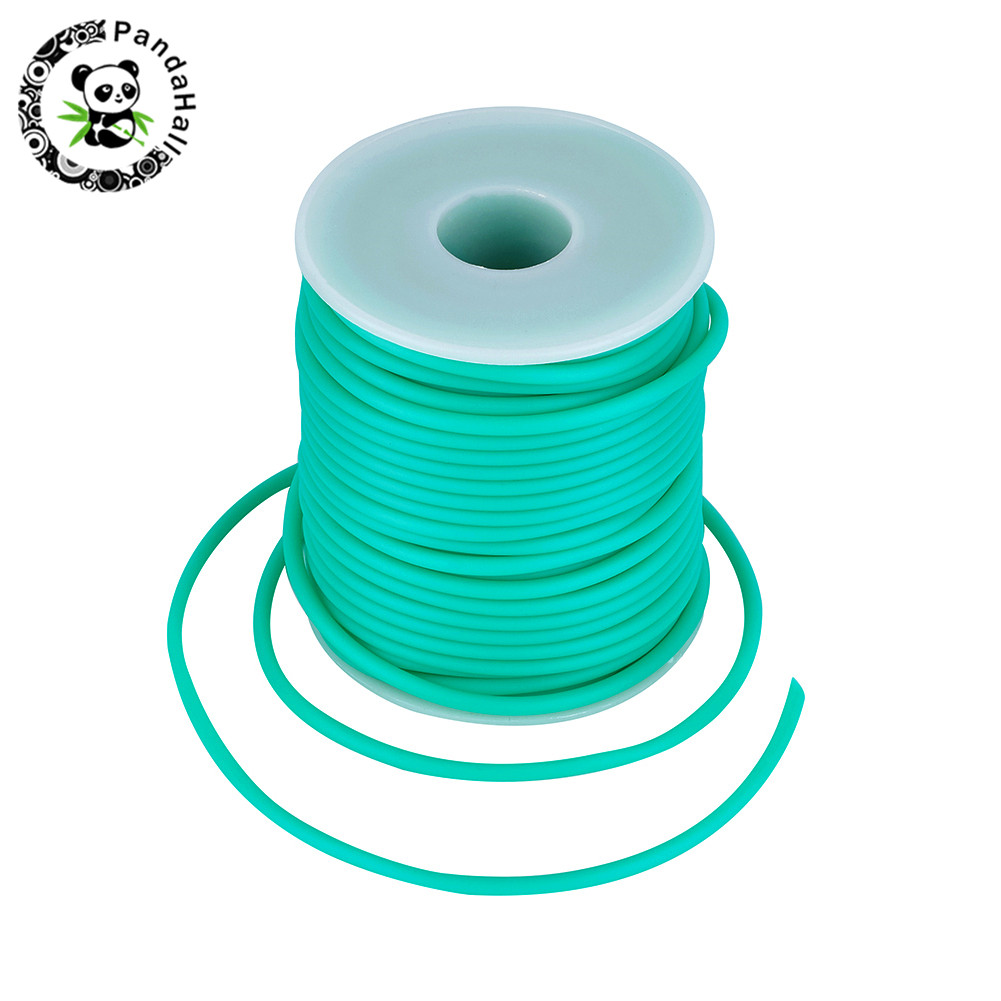 2mm 3mm Hollow Pipe PVC Tubular Rubber Cord For Jewelry Making DIY Wrapped Around White Plastic Spool Hole:1.5mm; About 25m/roll