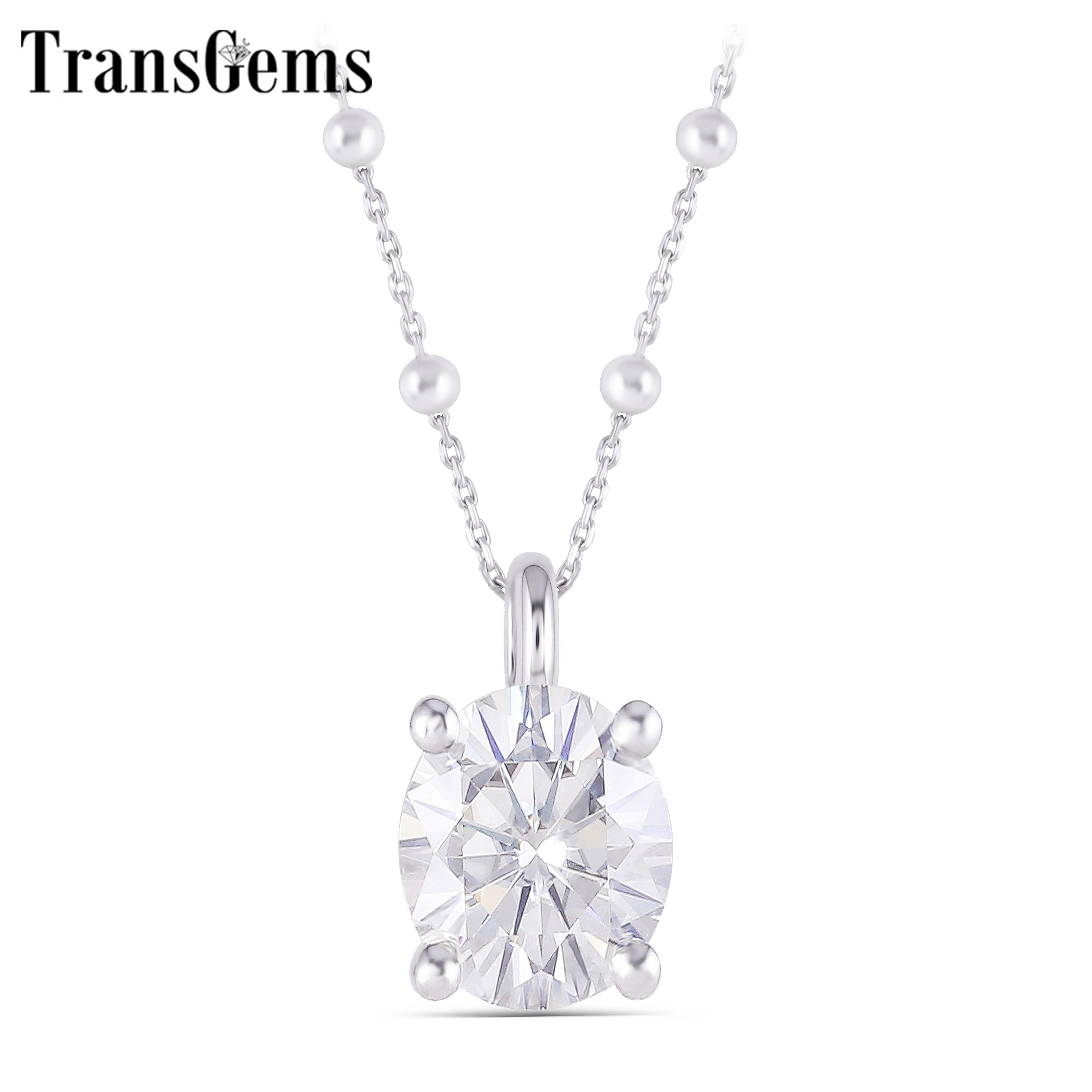 TransGems 14K 585 White Gold Center 2ct 7X8mm F Color Oval Moissanite Pendant Necklace For Women Fine Jewelry