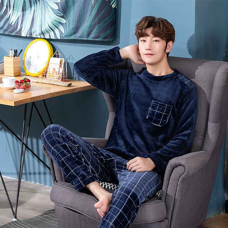 Pajama-Sets Suit Homewear Velvet Long-Sleeve Flannel Coral Thick Winter Warm Blue  title=