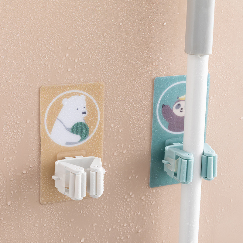 F392 Home Furnishing Avoid Punch Mop Mix Toilet Nothing Trace Broom Mop The Shelf Mop Accept Cassette Plastic Sticking Hook