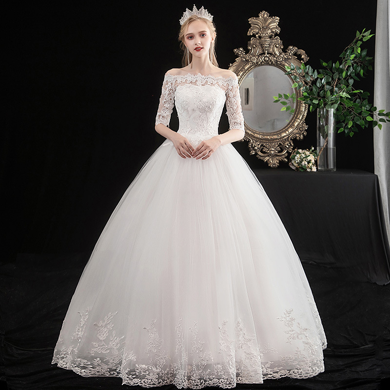 EZKUNTZA 2020 New Wedding Dress Luxury Lace Appliques Sexy Boat Neck Half Sleeve Slim Lace Up Bride Ball Gown Robe De Mariee L