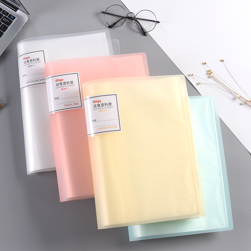 A3 Binder Clip File Folder Document  Desk Organizer Multilayer Data Book Transparent Inserts Storage Office Supplies Stationery