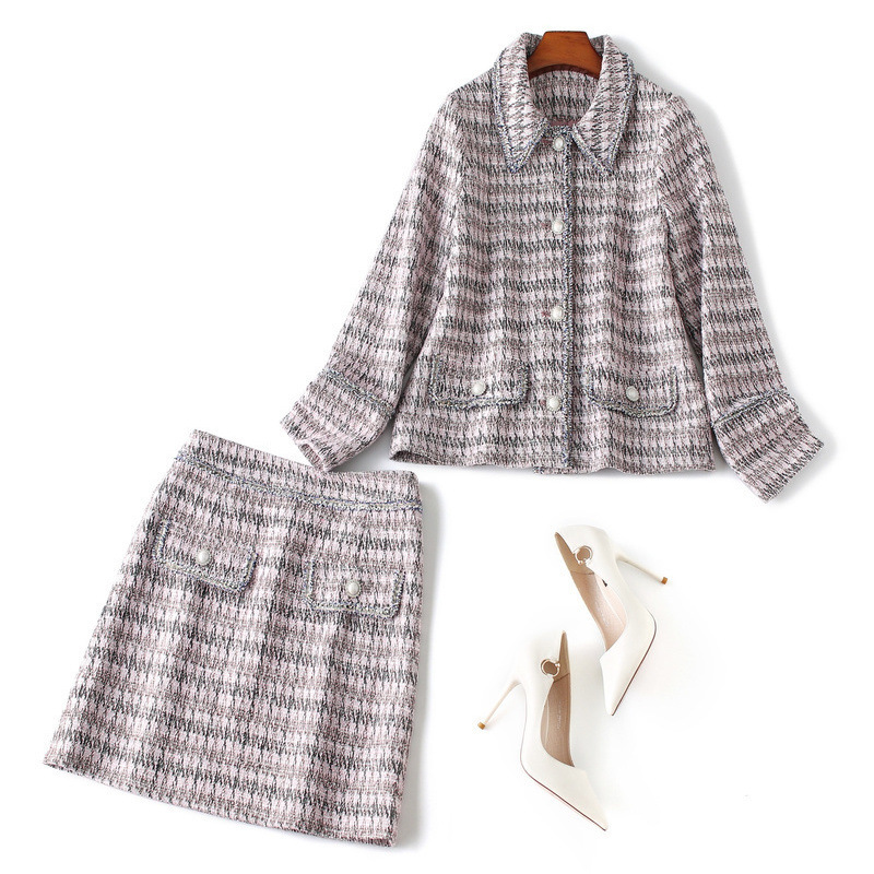[Wei Ou] Fashion Small Fragrant? WOMEN'S Suit Autumn 2019 Single Breasted Coat Pattern Short Skirt Two-Piece 82549