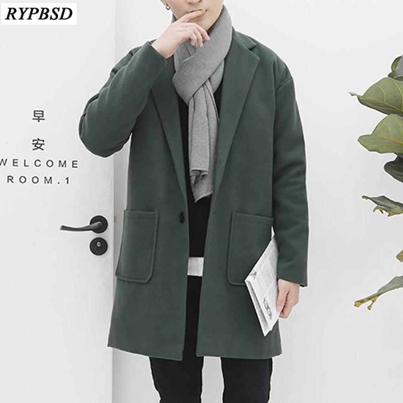 Fashion Men Wool Coat Solid Color New 2019 Single Button Long Men Coat Cotton Warm Woolen Coat Men Long Sleeve Long Overcoat Men