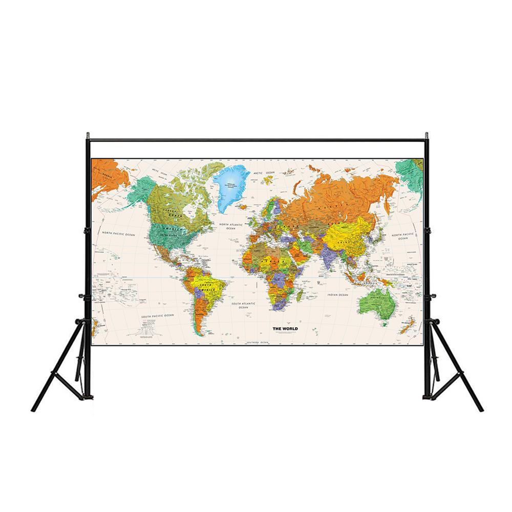 Non-woven Waterproof World Map Physical Map Aerial View Without Flag For Beginner 150x225cm