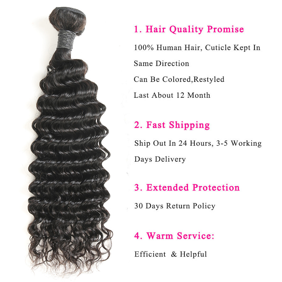 Brazilian Deep Curly Human Hair Bundles with Lace Frontal Closure Remy Hair Bundles with Frontal  Alimice Closure With Bundles