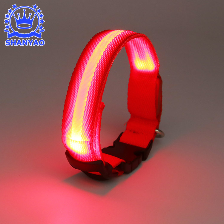 Dongguan Shine LED Fiber Neck Ring Fish Screen Shining Dog 1 Circle Night Light Pet Collar Multi-color