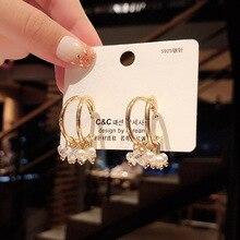 New Cold Wind High Sense Pearl Earrings Female Temperament Korean Personality Minority Design Sensory Crystal