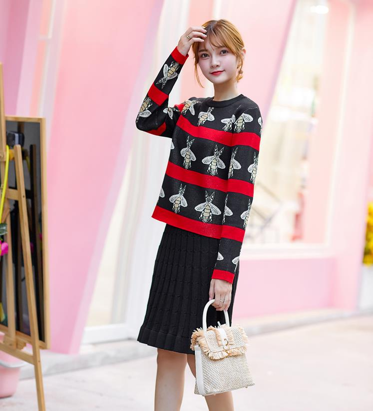 new print 2 two piece set sweater and skirt 2019 autumn and winter fashion sweater skirt two piece suit in Women 39 s Sets from Women 39 s Clothing