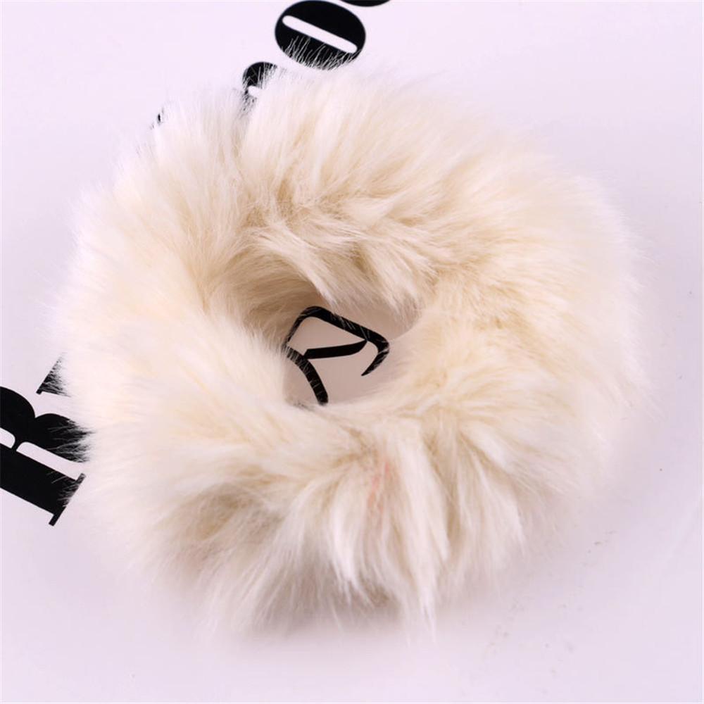 Новые зимние теплые мягкие резинки из кроличьего меха для женщин и девушек, эластичные резинки для волос, плюшевая повязка для волос, резинки, аксессуары для волос - Цвет: 21