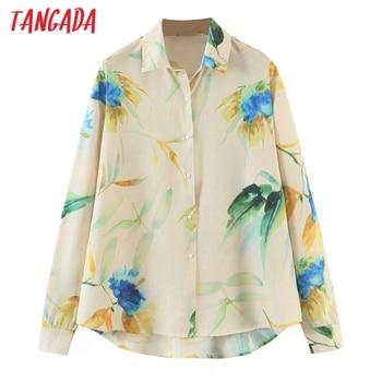 Tangada-camisas con estampado de flores Vintage para mujer, blusa elegante de oficina de manga larga con cuello vuelto SL505