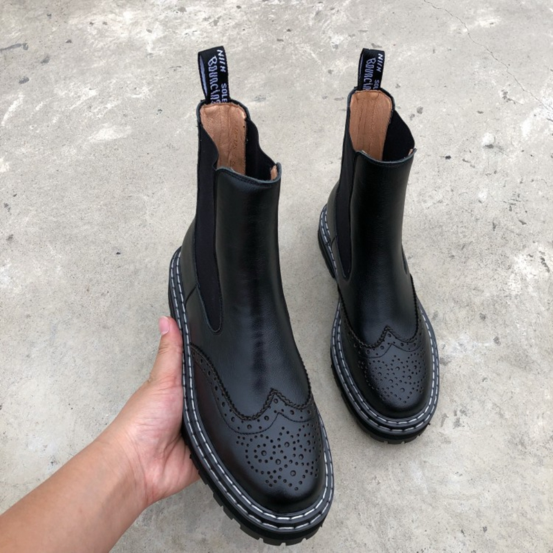 Зимние женские ботинки, Универсальные ботинки martens, ботинки мартинсы из натуральной кожи на плоской платформе с круглым носком, черные/крас...
