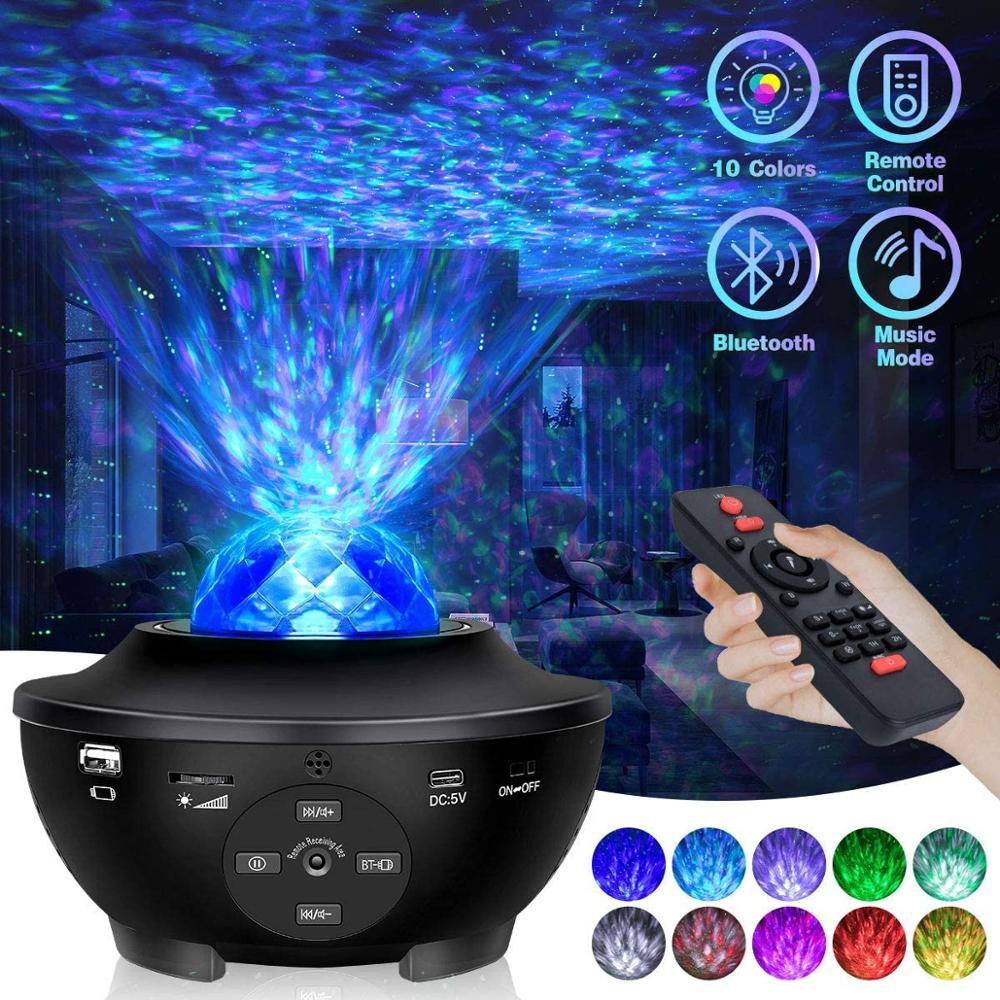 Звездный проектор, детский Ночной светильник, музыкальная звезда, водяная волна, светодиодный проектор, декоративное освещение, галактика, ...