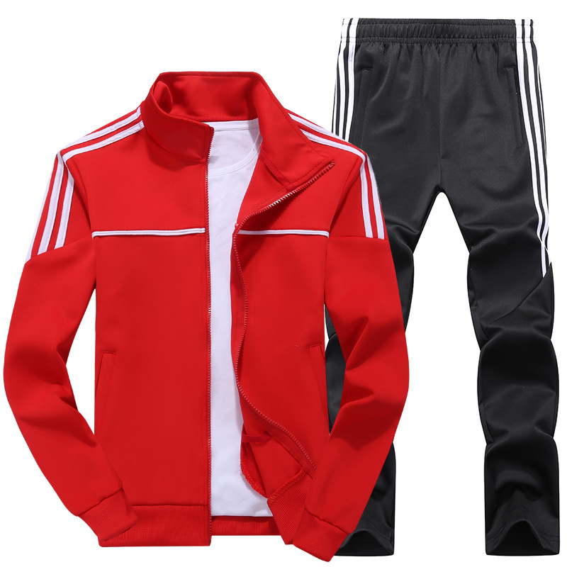 Spring And Autumn MEN'S Sport Suit Korean-style Stand Collar Cardigan Sweater Pants Young MEN'S FASHION Sports Clothing Casual C