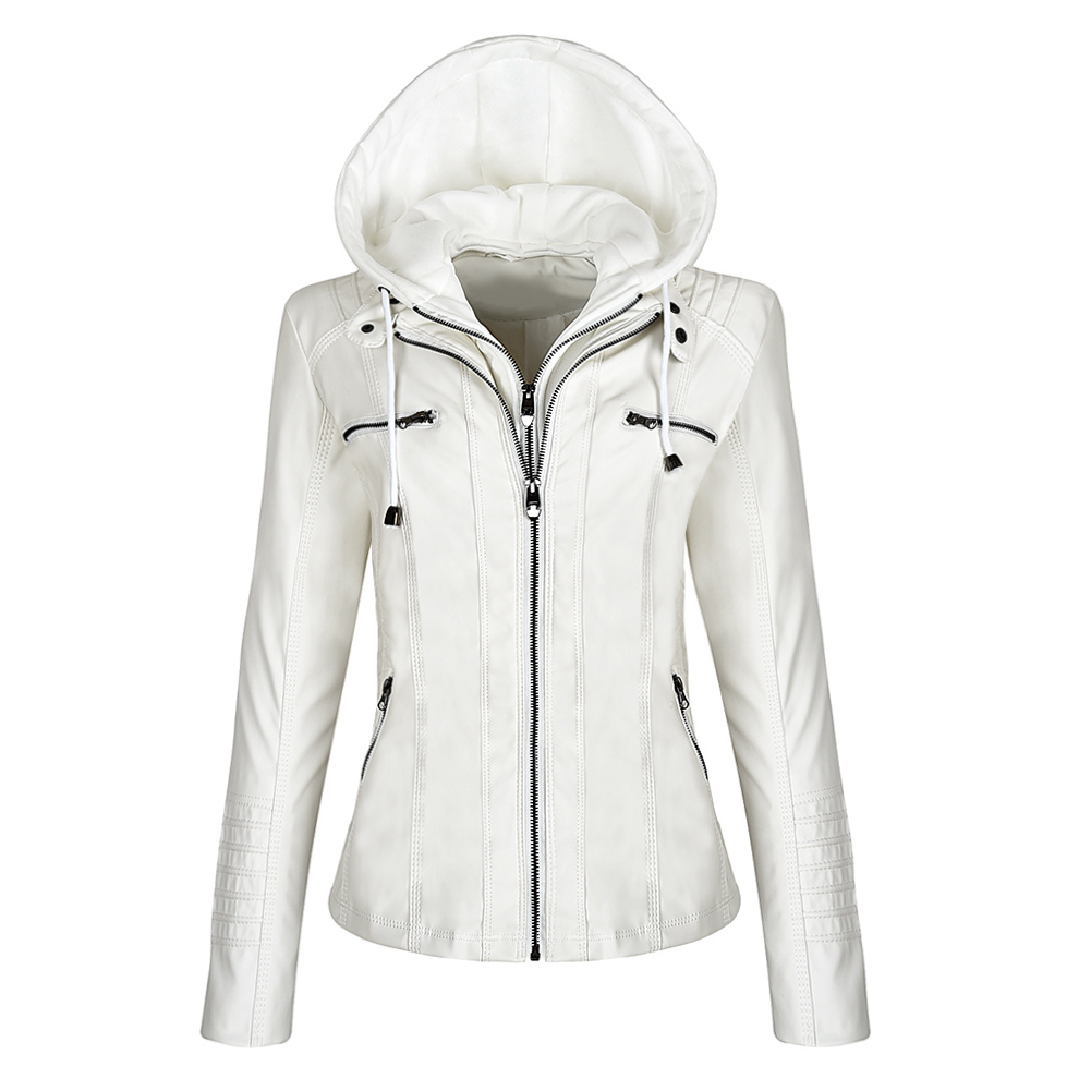 Faux Leather Jacket Women Hoodies Gothic Motorbike Basic PU Jacket Coats Outerwear Hooded Zipper Waterproof Ladies Coat 11