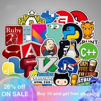 108 Pcs Internet Java Sticker Geek Programmer Php Docker Html Bitcoin Cloud C++ Programming Language for Laptop Car DIY Stickers java programming for beginner s