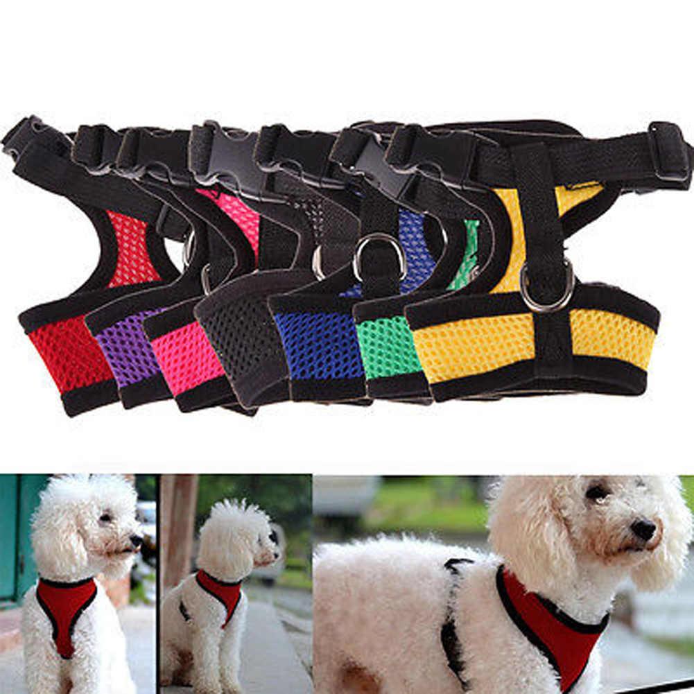 1 adet ayarlanabilir yumuşak köpek demeti naylon nefes örgü yürümek koşum yelek yaka küçük orta büyük köpekler için göğüs kemeri tasma