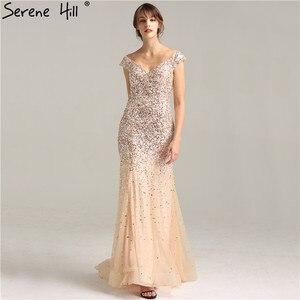 Image 3 - Vestidos de Noche de lujo de Dubái con hombros descubiertos, oro rosa, lentejuelas, Sexy, brillante, estilo sirena Formal, 2020 Serene Hill LA6232