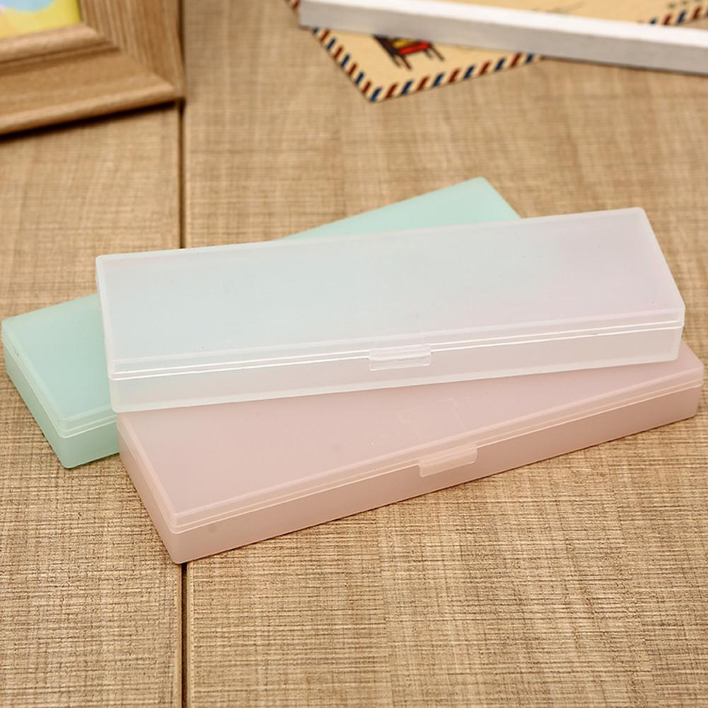 Portable Durable Lightweight Fashion Transparent Frosted Large Capacity Pen Box Pencil Case Stationery Holder Organizer
