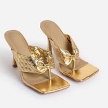 Moda terlikler yüksek topuklu yay çevirme sandalet ayakkabı kadın yaz gümüş altın Bling kare ayak bayanlar ayakkabı rahat boyutu 42