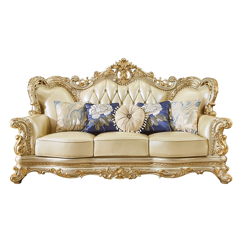European Leather Sofa Villa Luxury Large Living Room Champagne Solid Wood Sofa