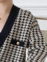 Maisie 2021 Femmes Pulls Cardigans Pied-De-Poule Manches Longues Tricoté Col V Printemps Automne Élégant Haute Top S
