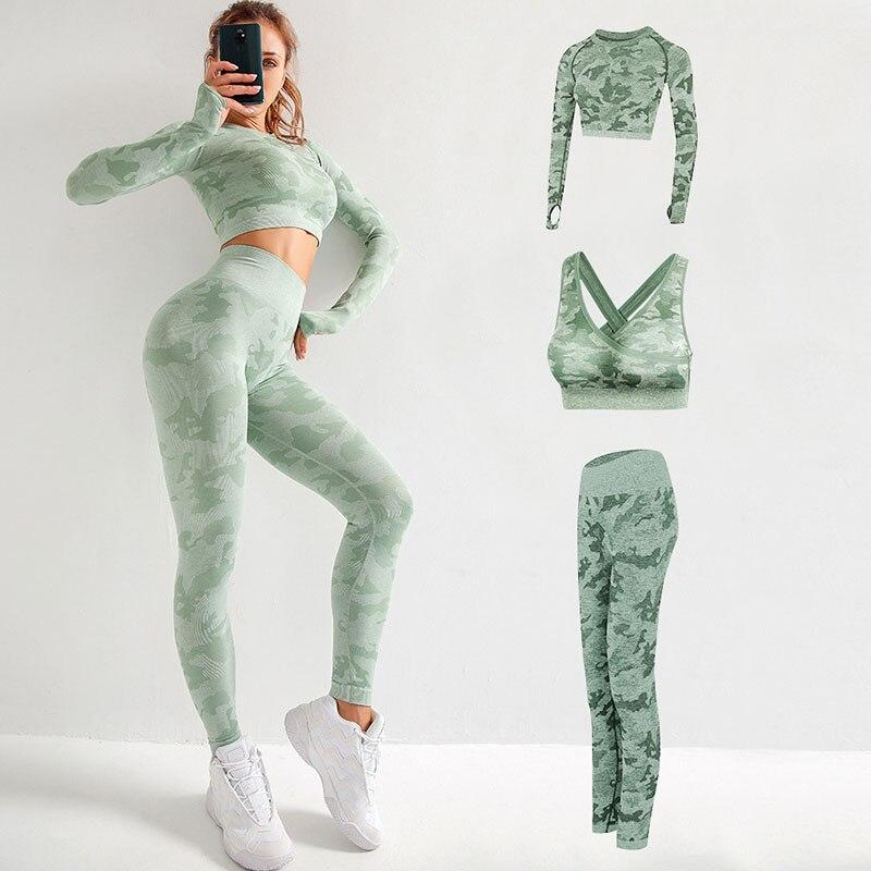Yoga Camouflage Driedelige Vrouwen Run Sportkleding Gym Fitness Yoga Leggings En Sportbeha Lange Mouw Vrouwen gym Sportkleding