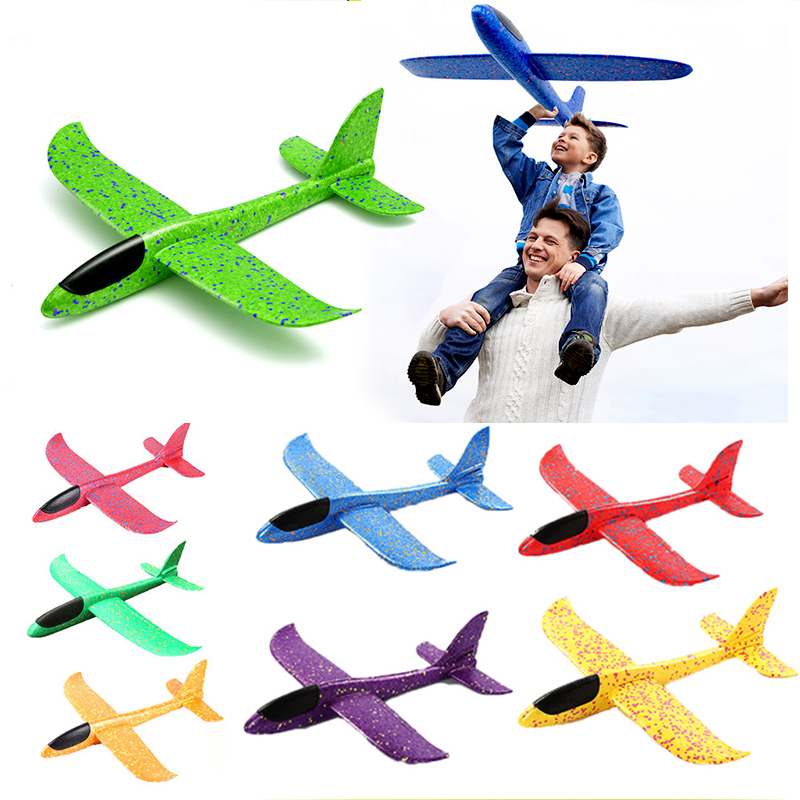 Hand Launch Throw Airplane 35cm Flying Outdoor Sports Glider Aircraft Model Foam Gliding Boys Fun Game Figure Toys for Children(China)
