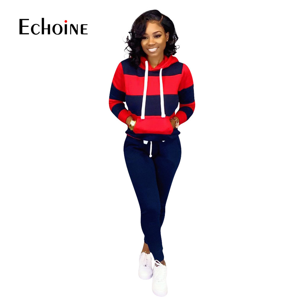 Quality Stripe Tracksuit Women Two Piece Club Outfits Set 2019 Long Sleeve Hooded Sexy Sweatshirt With Pocket Pants 2 Piece Set