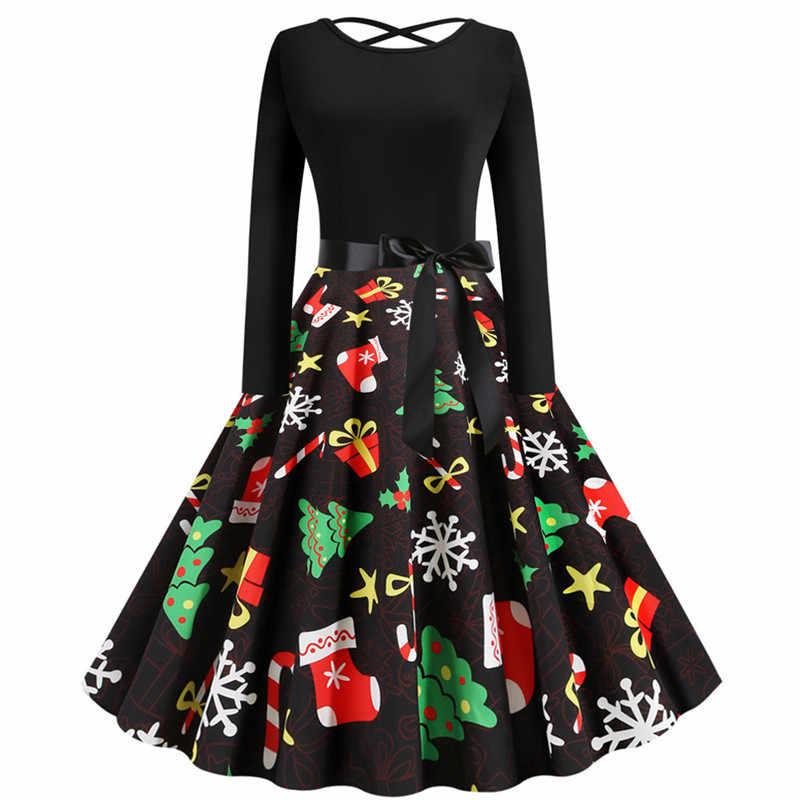 Женское рождественское платье с принтом сзади крест длинным рукавом Лук Винтаж