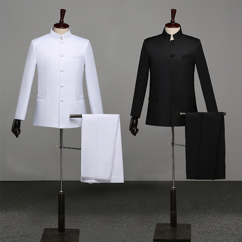 Chinese Style Mandarin Collar Men's Suits Male Blazer Casual Suit Fashion Embroidered Classic Business Wedding Dress Male