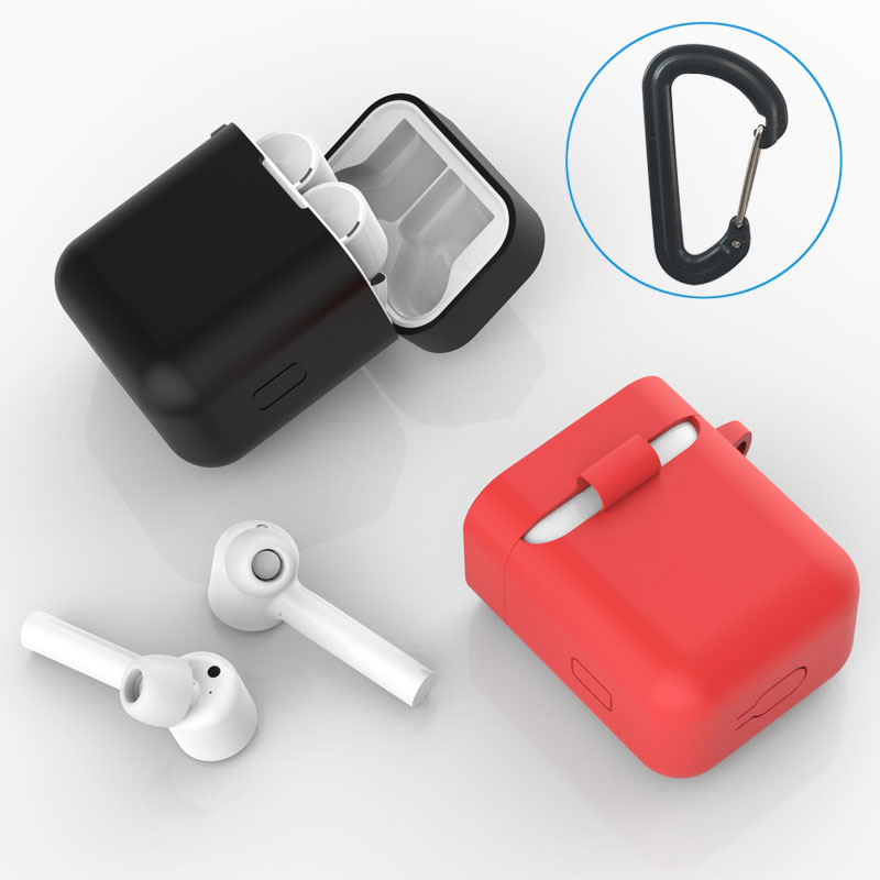 Soft Silicone Case For Xiaomi Airdots Pro Wireless Headphone Protective Cover Bluetooth Earphone Shockproof Box With Buckle Hook