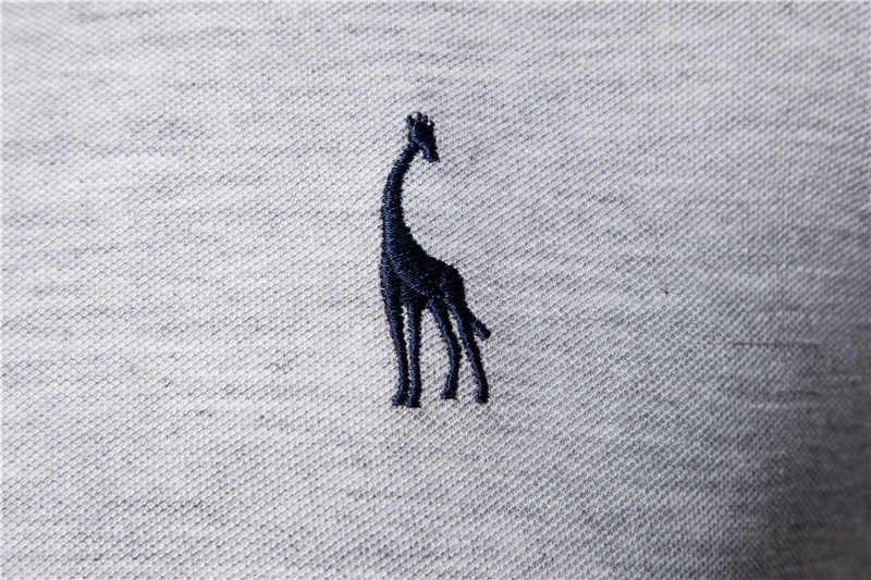 Dropshipping 2019 yeni Polo GÖMLEK erkekler düz rahat pamuklu Polo zürafa erkekler Slim Fit nakış kısa kollu erkek Polo 10 renkler