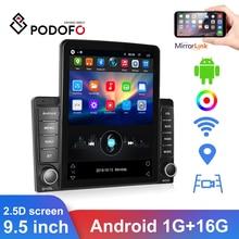 "Podofo 9.5 ""2.5d 2 din android rds rádio do carro gps wifi reprodutor multimídia carro para hyundai nissian toyota lada rádio universal"