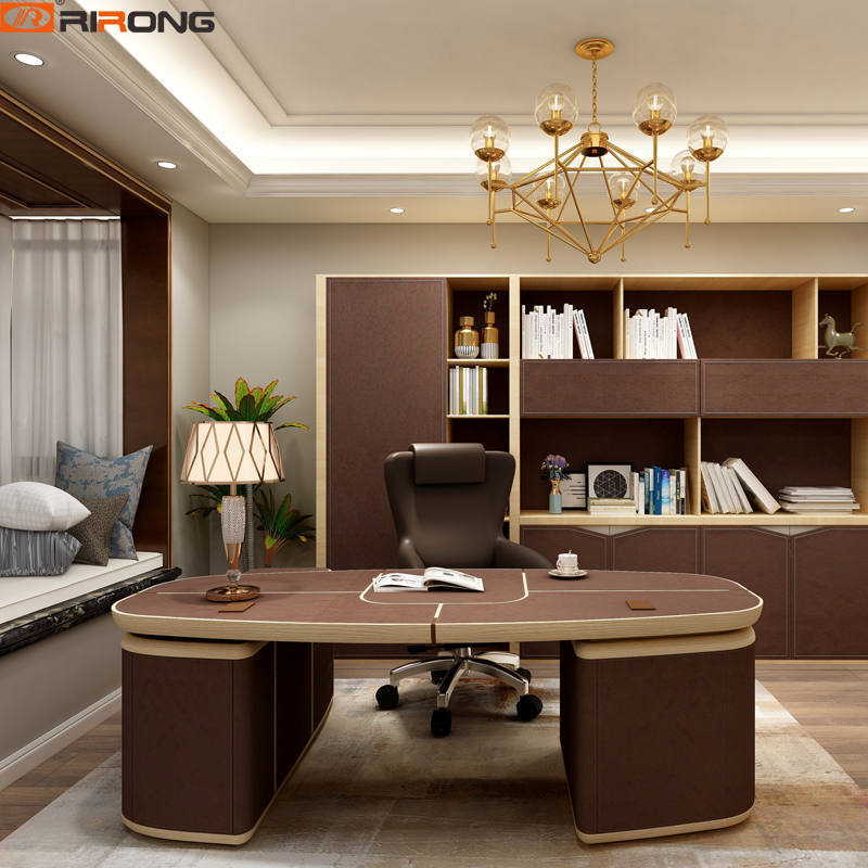 Lxury Itay Design Home Office Study Room Brown Chocolate Color Standing Leather Wooden Study  Computer Executive Table Desk