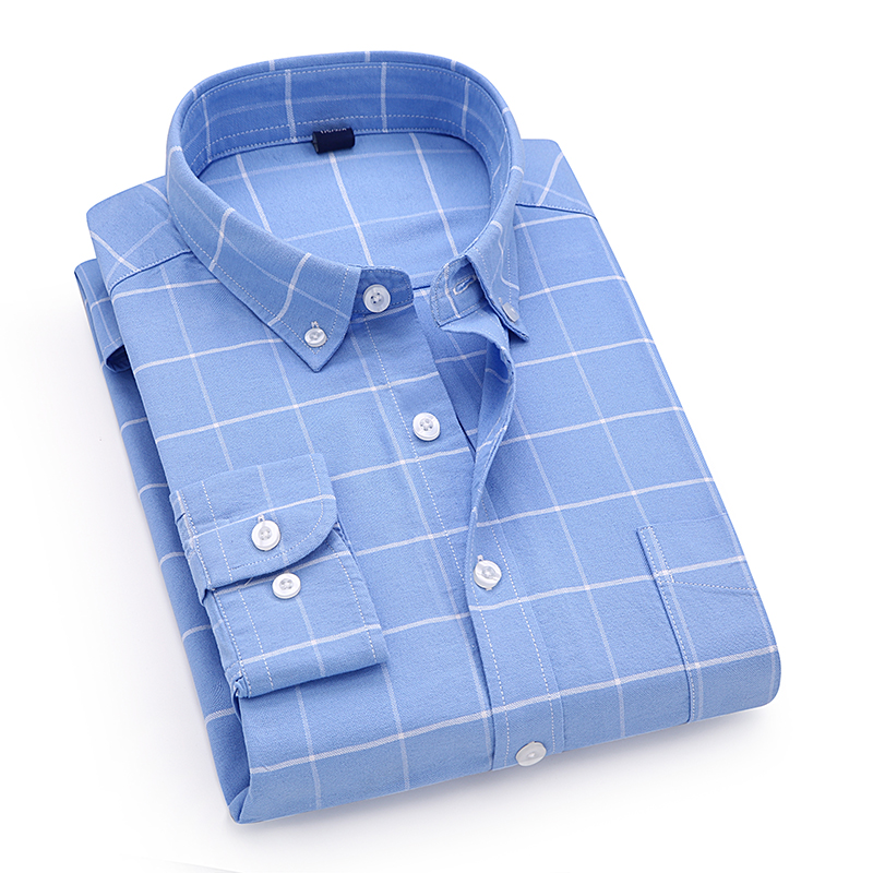 Clothing 100% Cotton Men's Plaid Shirt Slim Fit Spring Autumn Male Brand Casual Long Sleeved Shirts Soft Comfortable 4XL