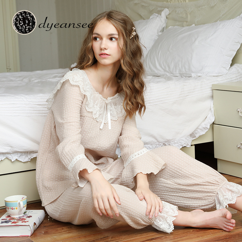 DAS autumn new pajamas women's winter cotton women's long sleeve palace wave point home clothes lotus leaf collar nightdress