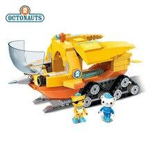Genuíno octonauts narval barco bloco de construção brinquedos educativos diy montado navio pequenas partículas blocos tijolos crianças brinquedo