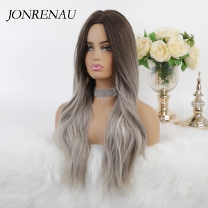 Image 2 - JONRENAU 24 Inches Ombre Brown Long Synthetic Natural Wave Hair Wigs Heat Resistant Hair Wigs for Black Women