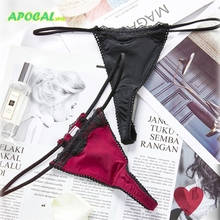 APOCAL Sexy Womens Panties Spaghetti G-string Cotton Black Thong Burgundy Lace Female Underwear Women Sex Briefs Tanga