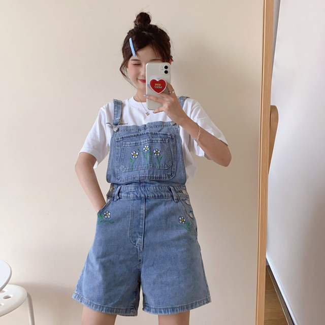 summer korean preppy style Jumpsuit Denim Overalls Casual Girls floral straight Jeans Shorts womens (F8010) 1