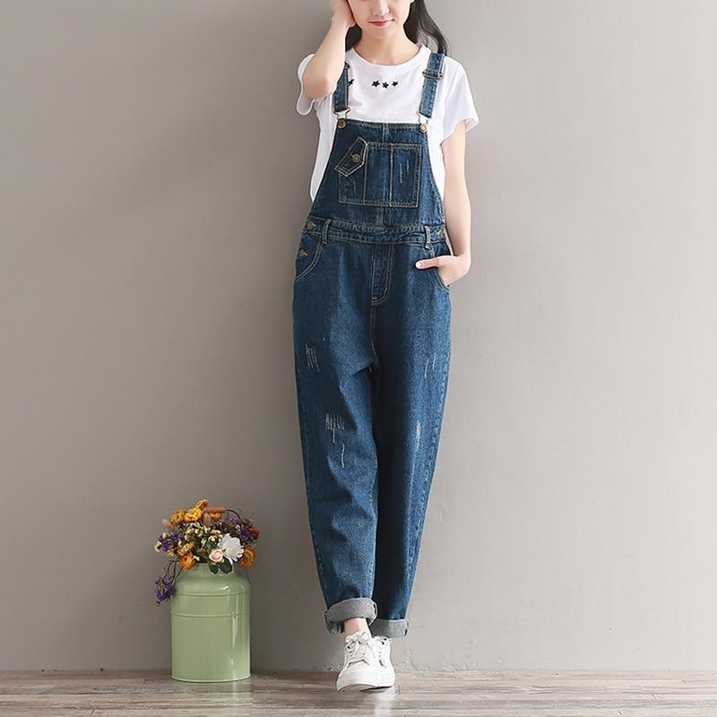 Autumn Women Denim Jumpsuit Plus Size Loose Casual Straight Bib Jeans Overalls Women Vintage Rompers Dark Blue Wide Leg Jumpsuit